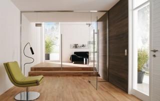 Glazen deur en wand zodat uw kamer groter lijkt